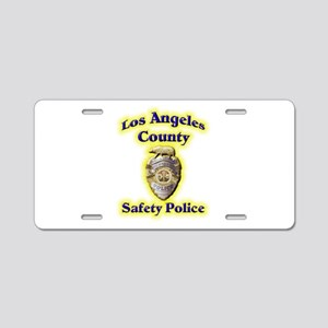 L A County Safety Police Aluminum License Plate