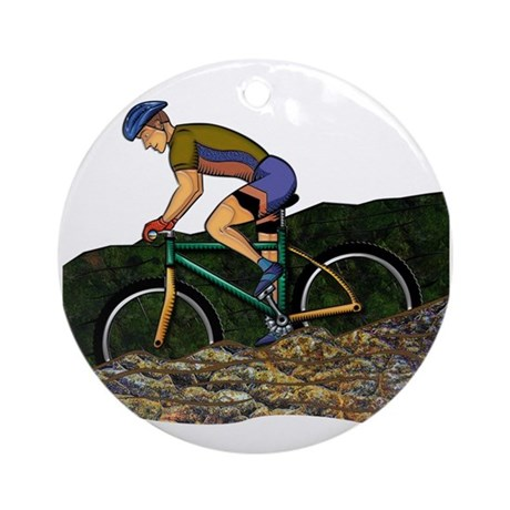 Young Man Biking Outdoors Ornament (Round)