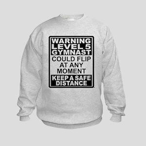 Warning Gymnast May Flip Kids Sweatshirt