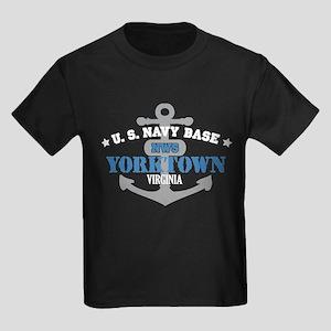 US Navy Yorktown Base Kids Dark T-Shirt