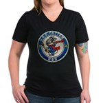 USS COTTEN Women's V-Neck Dark T-Shirt