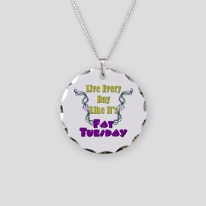 Fat Tuesday Necklace Circle Charm
