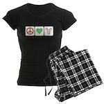 Peace Love Candy Canes Women's Dark Pajamas