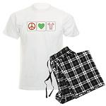 Peace Love Candy Canes Men's Light Pajamas