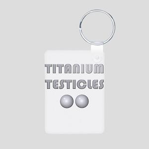 Titanium Testicles Aluminum Photo Keychain