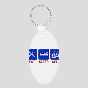 Eat. Sleep. Sell. Aluminum Oval Keychain