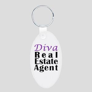 Diva Real estate Agent Aluminum Oval Keychain