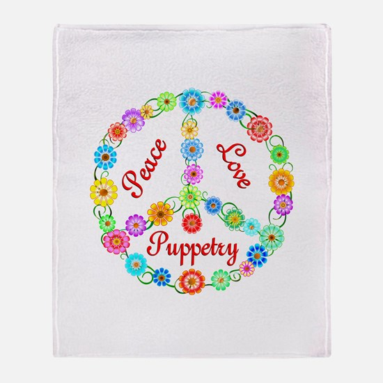 Puppetry Peace Sign Throw Blanket