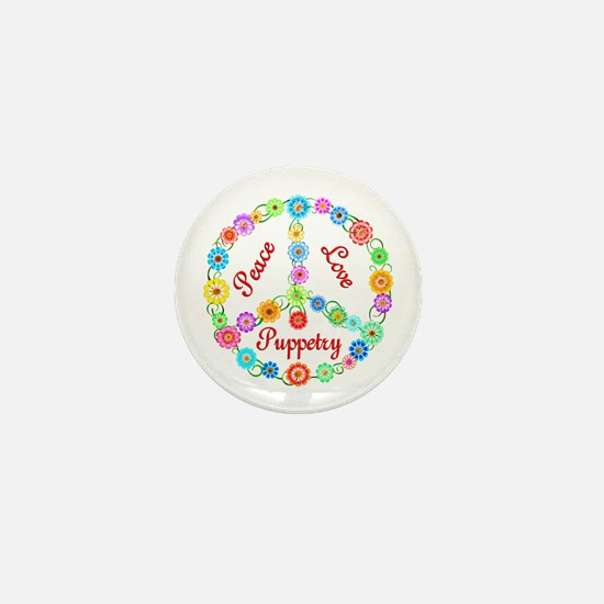 Puppetry Peace Sign Mini Button