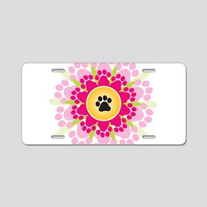 Paw Prints Flower Aluminum License Plate