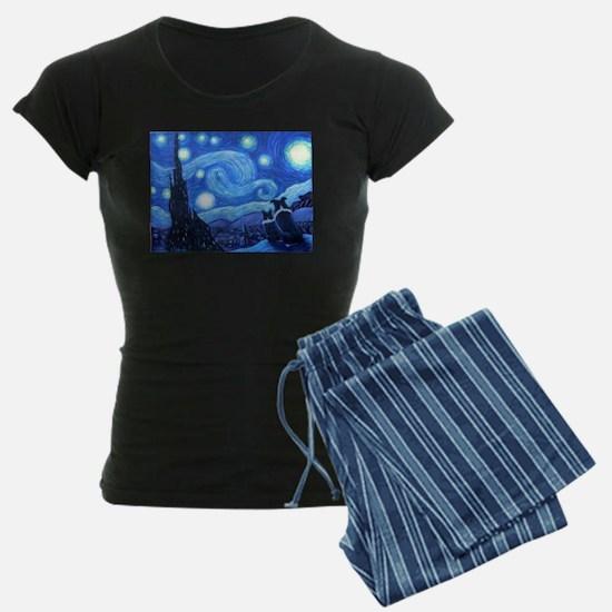 Starry Night Border Collies Pajamas