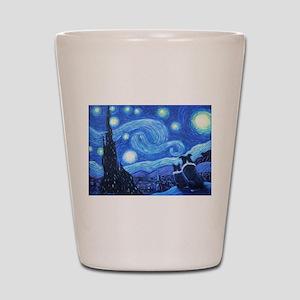 Starry Night Border Collies Shot Glass