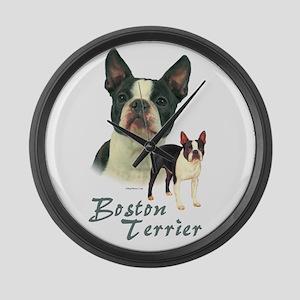 Boston Terrier-2 Large Wall Clock