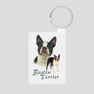 Boston Terrier-2 Aluminum Photo Keychain