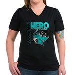 Ovarian Cancer Hero Teacher Women's V-Neck Dark T-