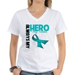 Ovarian Cancer Hero Teacher Women's V-Neck T-Shirt