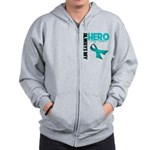 Ovarian Cancer Hero Teacher Zip Hoodie
