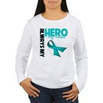 Ovarian Cancer Hero Teacher Women's Long Sleeve T-