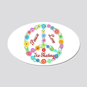 Ice Skating Peace Sign 22x14 Oval Wall Peel