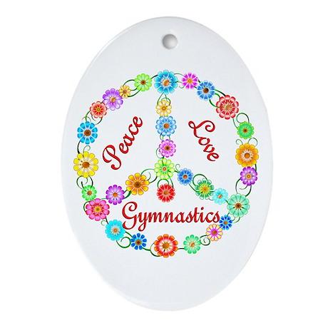 Gymnastics Peace Sign Ornament (Oval)