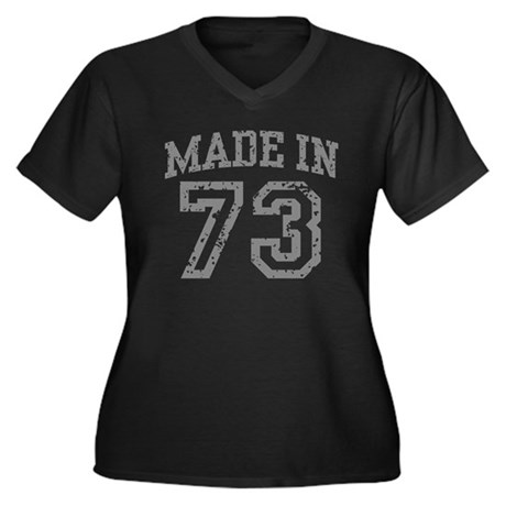 Made in 73 Women's Plus Size V-Neck Dark T-Shirt