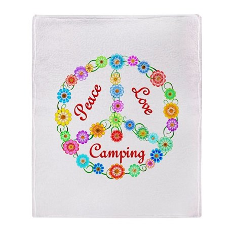 Camping Peace Sign Throw Blanket