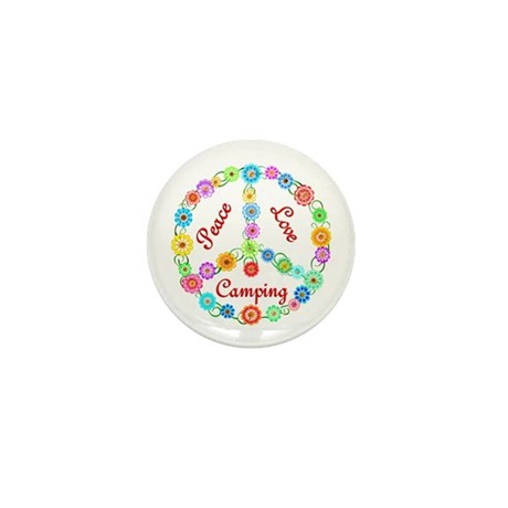 Camping Peace Sign Mini Button (10 pack)