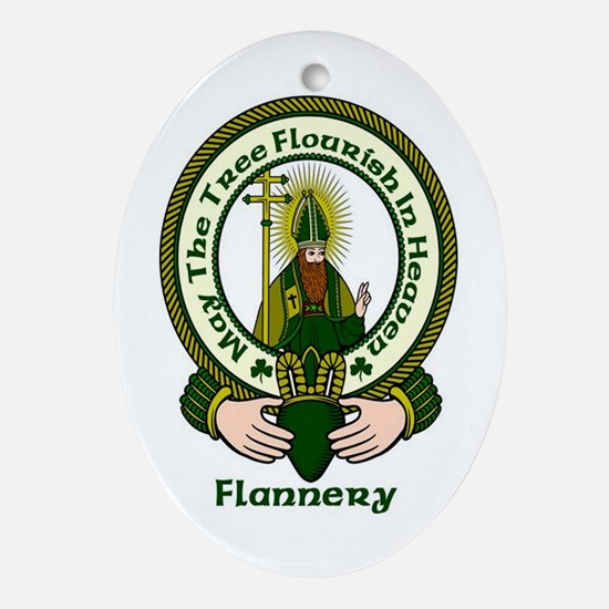 Flannery Clan Motto Oval Ornament