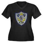 USS COWELL Women's Plus Size V-Neck Dark T-Shirt