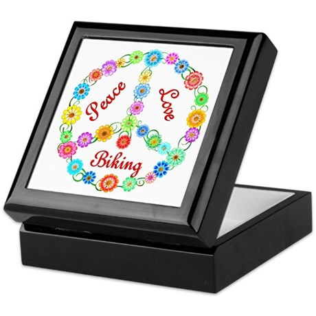 Biking Peace Sign Keepsake Box