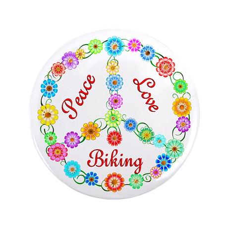 """Biking Peace Sign 3.5"""" Button"""