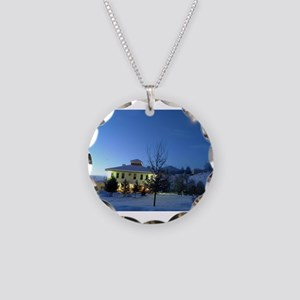 Old School House Necklace Circle Charm