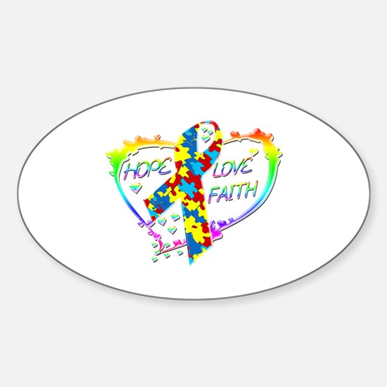 Hope Love Faith Sticker (Oval)
