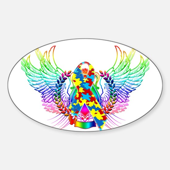 Awareness Tribal Puzzle Sticker (Oval)