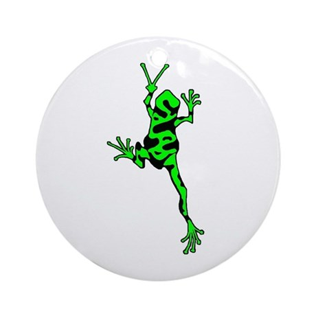 Green Peace Frog Ornament (Round)