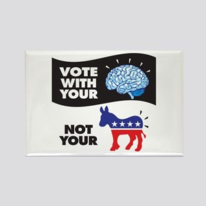 Vote With Your Brain Rectangle Magnet Magnets