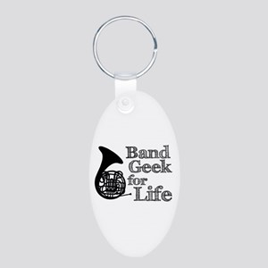 French Horn Band Geek Aluminum Oval Keychain