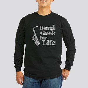 Saxophone Band Geek Long Sleeve Dark T-Shirt