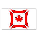 Canadian Biker Cross Rectangular Sticker