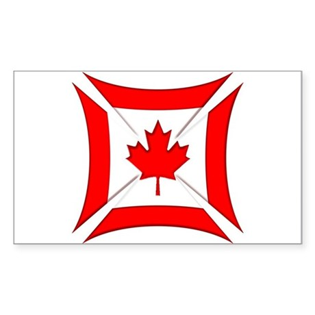 Canadian Biker Cross Rectangular Sticker