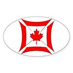 Canadian Biker Cross Oval Sticker