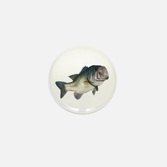 Bass Fisherman Mini Button