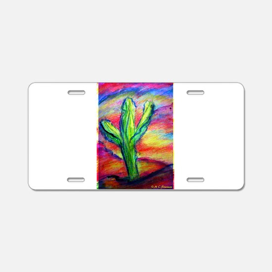 Colorful, Saguaro Cactus, Aluminum License Plate