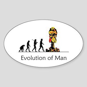 Evolution of Man - Bomb Sticker (Oval)