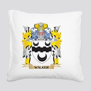 Walker Family Crest - Coat of Square Canvas Pillow