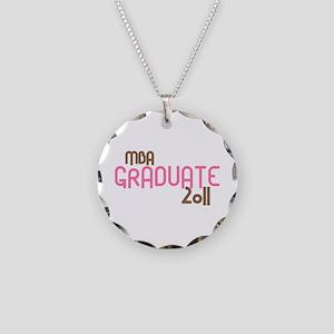 MBA Graduate 2011 (Retro Pink) Necklace Circle Cha