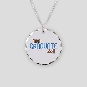 MBA Graduate 2011 (Retro Blue) Necklace Circle Cha