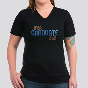 MBA Graduate 2011 (Retro Blue) Women's V-Neck Dark