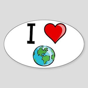 I Heart Earth Sticker (Oval)