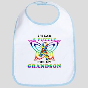 I Wear A Puzzle for my Grandson Bib